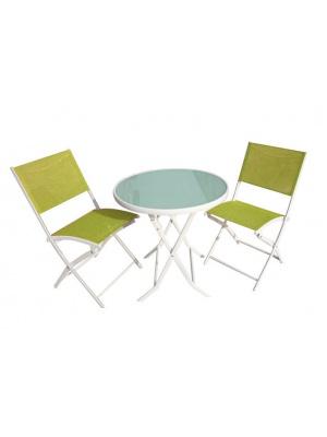 Table pliante et 2 chaises coloris vert anis