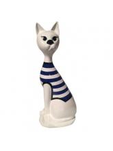 Chat Assis Marinière bleue