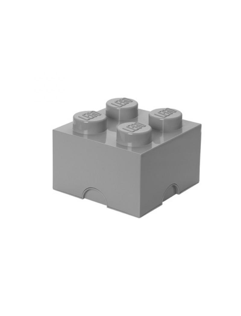 Brique de rangement Lego 4 plots - Gris