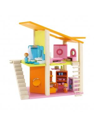 Maison poupée mini avec meubles 26 pièces