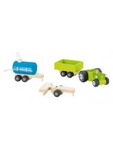 Tracteur avec remorque en bois