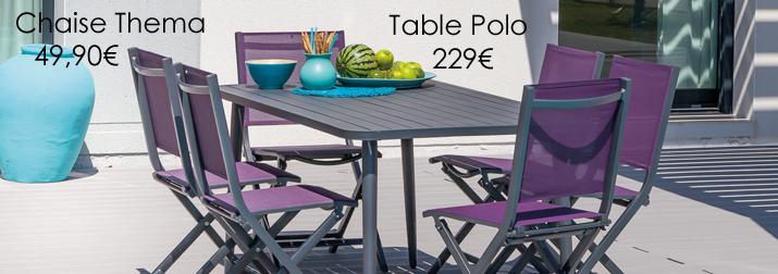 Salon de jardin Proloisirs table et 6 chaises de jardin