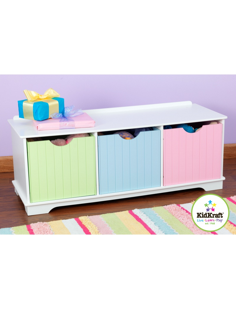 banc de rangement nantucket pastel kidkraft mobilier chambre d 39 enfant jardin concept. Black Bedroom Furniture Sets. Home Design Ideas