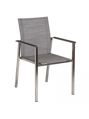 Fauteuil Cologne empilable inox toile grise