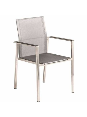 Fauteuil Cologne empilable inox toile Gris clair
