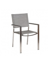 Fauteuil Cologne inox toile Grise clair