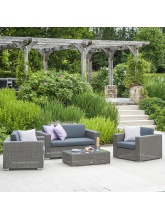 Salon de jardin Monté Carlo résine tressée grise