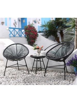 Ensemble 2 fauteuils + table basse fil Noir