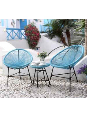 Ensemble 2 fauteuils + table basse fil Bleu