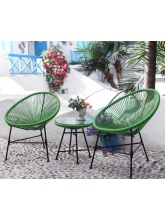 Ensemble 2 fauteuils + table basse fil Vert