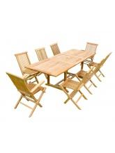 Table à rallonge rectangulaire + 6 chaises + 2 fauteuils