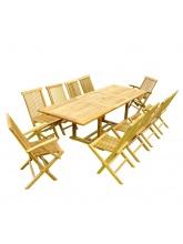 Table à rallonge rectangulaire + 8 chaises + 2 fauteuils