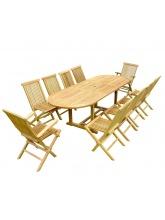 Table à rallonge + 8 chaises + 2 fauteuils en teck brut
