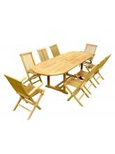 Table à rallonge + 6 chaises + 2 fauteuils en teck brut