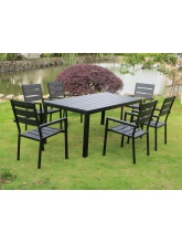 Table + 6 chaises en polywood Noir