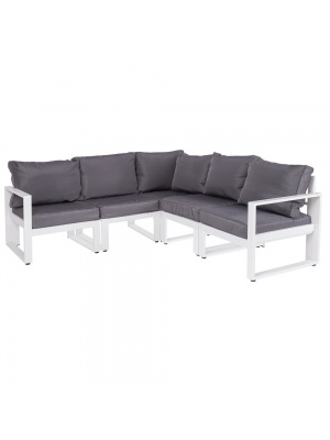 Canapé d'angle Anne aluminium blanc-gris