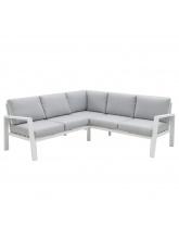 Canapé d'angle Thais aluminium blanc/gris