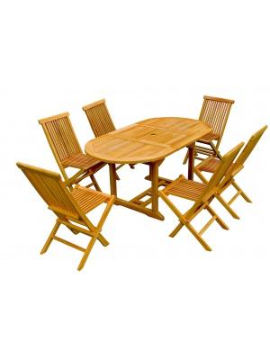 Table à rallonge en teck brut + 6 chaises