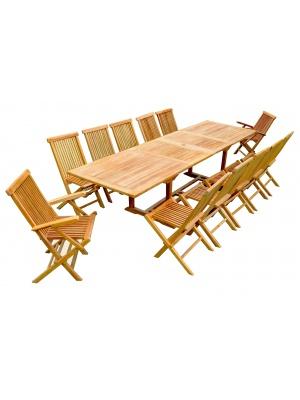 Table rectangulaire à rallonge + 10 chaises + 2 fauteuils