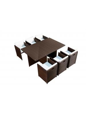 Salon de jardin encastrable 6 fauteuils Choco-Ecru