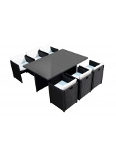 Salon de jardin encastrable 6 fauteuils Noir-Ecru