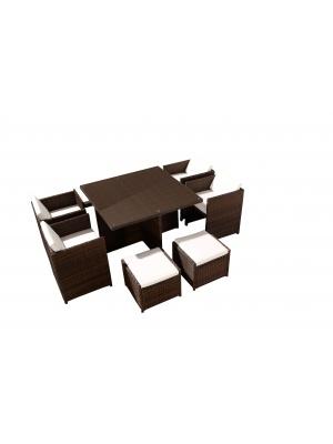 Salon de jardin encastrable Chocolat-Ecru