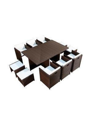 Salon de jardin 6 fauteuils et 4 poufs Chocolat-Ecru