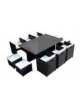 Salon de jardin 6 fauteuils et 4 poufs Noir-Ecru