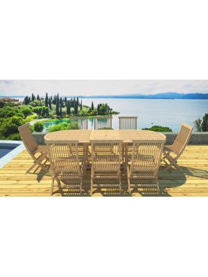 Table à rallonge et 8 chaises en teck brut