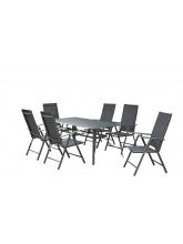 Table plateau verre noir + 6 fauteuils