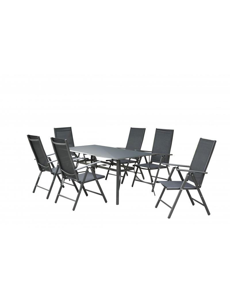 Table plateau verre noir + 6 fauteuils Exterieur Deco - Salon de ...