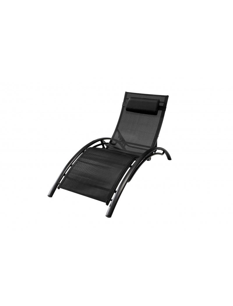 bain de soleil lynco textilène noir exterieur deco - bains de soleil