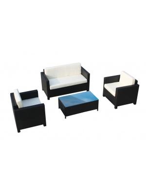 Salon de jardin bas 4 places avec table basse en résine tressée