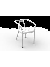 Fauteuil Helm blanc en aluminium