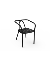Fauteuil Helm noir en aluminium