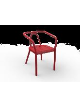 Fauteuil Helm rouge en aluminium
