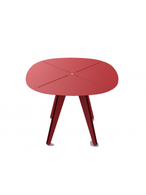 Table carrée Loom aluminium rouge