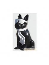 Bouledogue Cravate et Lunettes Bicolore Noir et Blanc