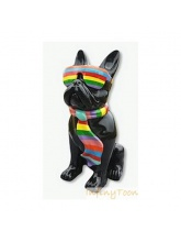 Bouledogue Noir Cravate et Lunettes Multicolore