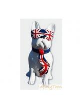 Bouledogue Blanc Cravate et Lunettes Drapeau anglais