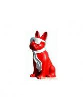 Bouledogue Cravate et Lunettes Bicolore Rouge et Blanc
