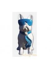 Bouledogue Cravate et Lunettes Marinère Bleu