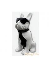 Bouledogue Cravate et lunettes Bicolore Blanc et Noir