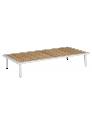 Table basse rectangulaire Beach Blanc avec plateau en roble
