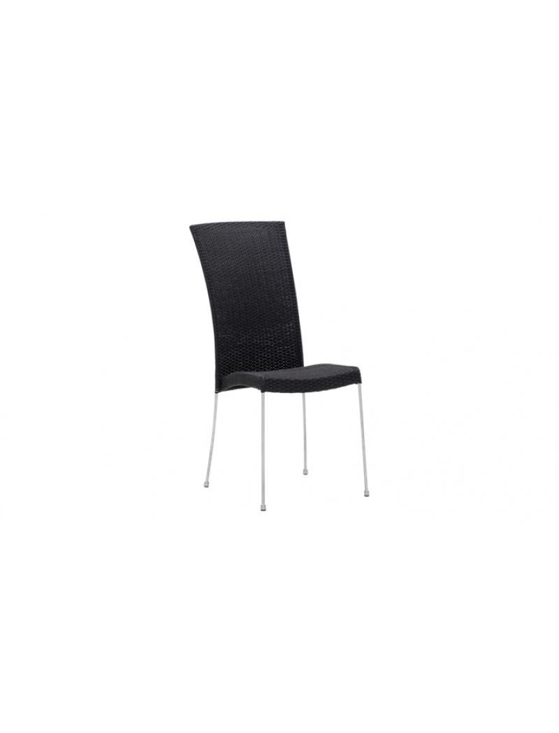 Sika Design Chaise résine tressée Saturn noir Avec coussin blanc