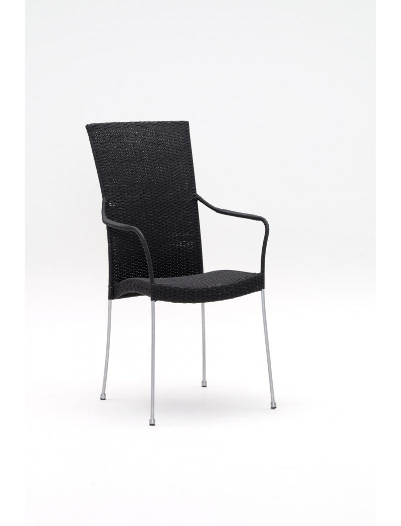 Sika Design Fauteuil résine tressée Saturn noir Avec coussin blanc