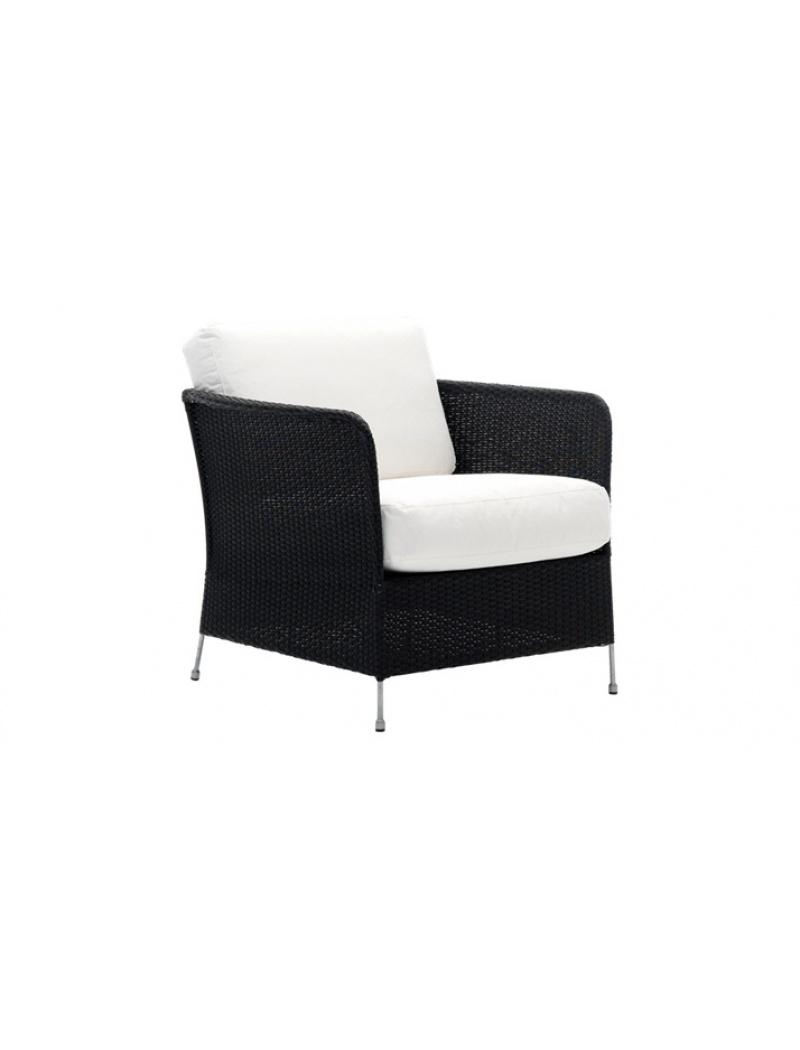 Sika Design Fauteuil Orion noir avec coussin Avec coussin blanc