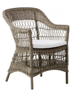 Fauteuil Charlot Taupe avec coussin