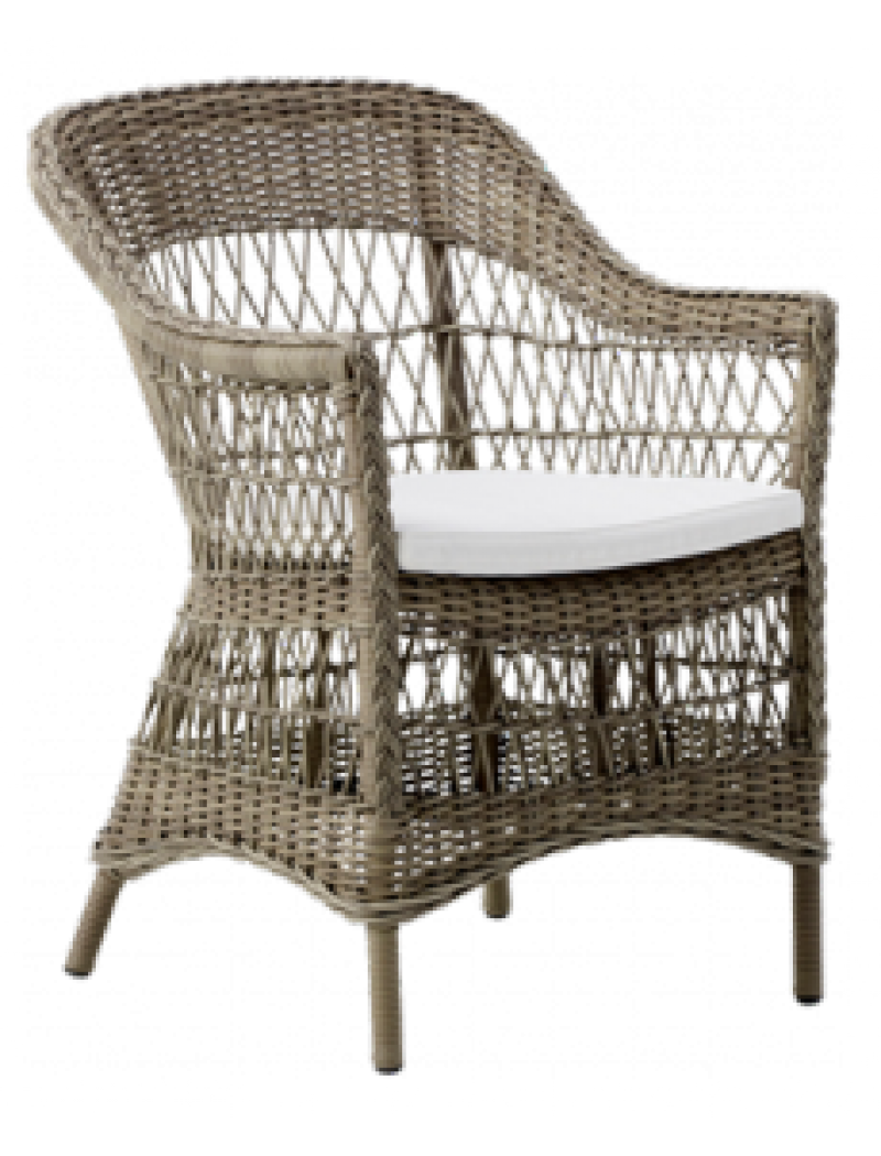 Sika Design Fauteuil Charlot Taupe avec coussin