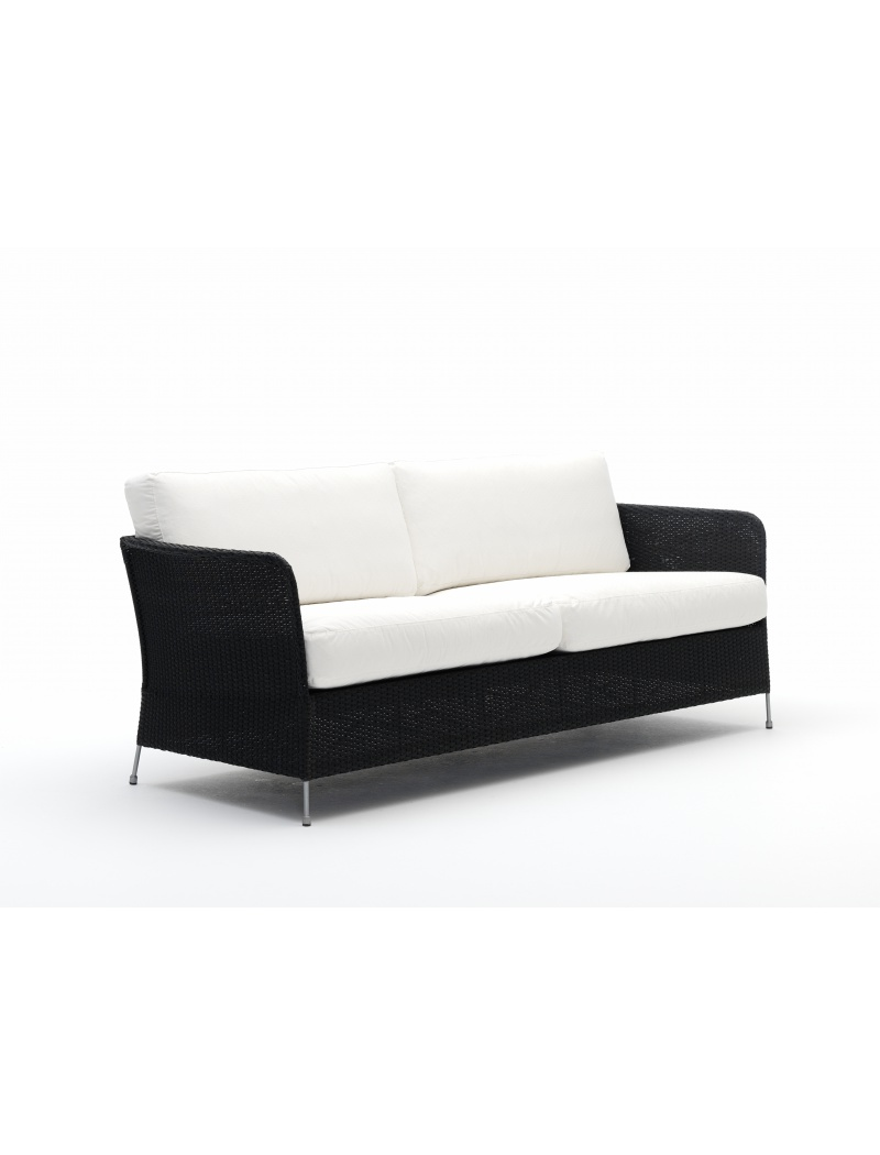 Sika Design Canapé Orion noir avec coussins Avec coussin blanc
